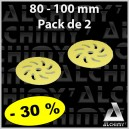 PACK de 2 Mousses Microfibres Jaune 80/100 mm