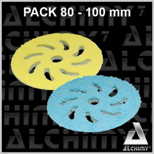 PACK Mousses Microfibres Bleue/Jaune 80/100 mm